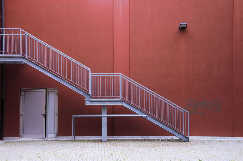 Staircase of red building