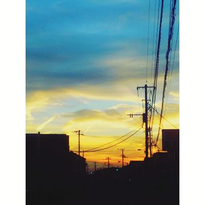 夕暮れの町 Cable Power Supply Fuel And Power Generation Power Line  Connection Electricity  Electricity Pylon Sky Sunset Technology Cloud - Sky No People Silhouette Outdoors Built Structure Telephone Line Day Building Exterior
