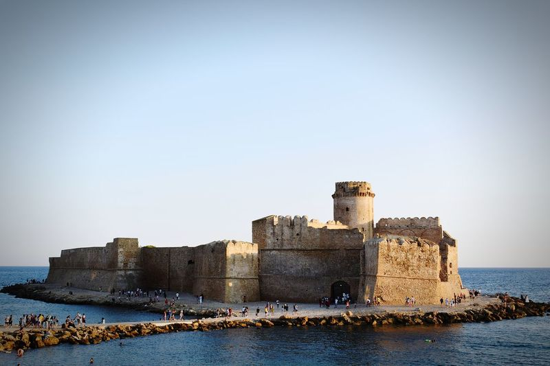 Historic fort le castella, calabria, italy against clear sky