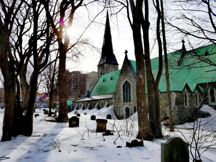 Cemetery Church Architecture Church And Cemetery Grounds Sunset Silhouettes Green Roof Winterscapes Snow Covered Snow In The City Wintertime Winter In The City Urban Photography Tree Snow Cold Temperature Winter Branch Sky Architecture Building Exterior Built Structure Place Of Worship Religion Spirituality Church Bare Tree