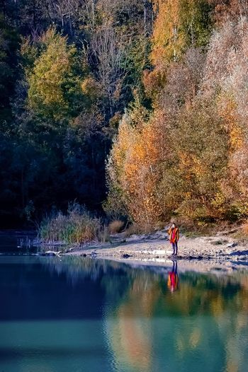 Water Real People Nature One Person Reflection Tree Beauty In Nature Lake Leisure Activity Autumn Outdoors Full Length Men Day Waterfront Standing Lifestyles Tranquility Scenics One Man Only EyeEm Best Shots - Nature Second Acts EyeEmNewHere Tranquility Beauty In Nature Be. Ready.