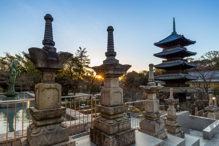 Pagoda at kosho-ji temple against sky
