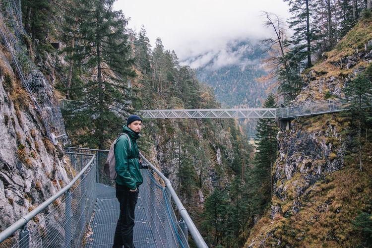 Man standing on footbridge in forest