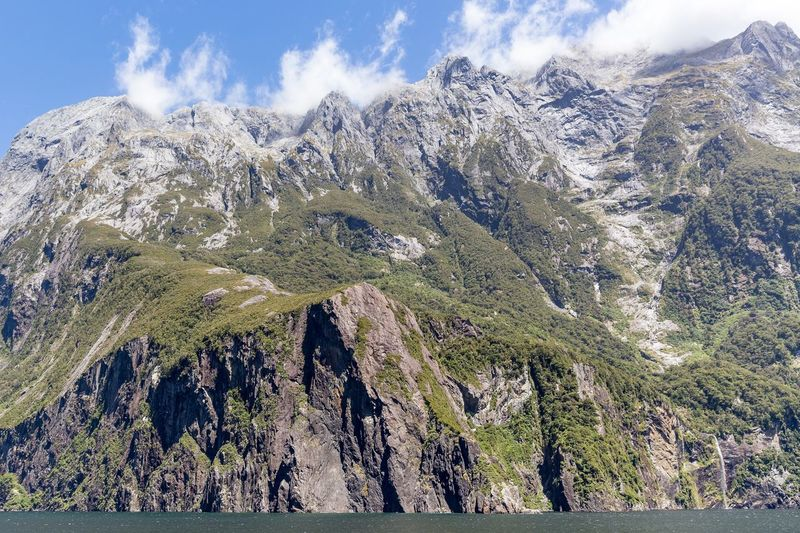 Scenic view of milford sound against sky