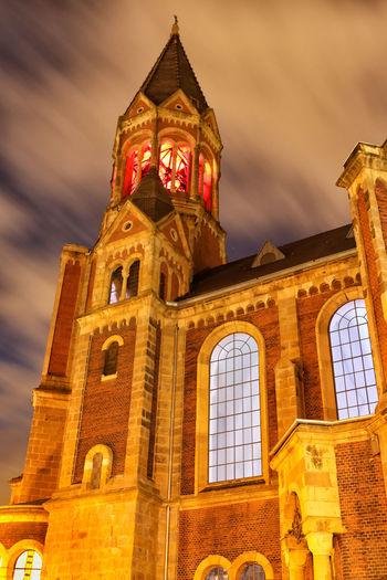 By Night Church Church Tower Essen Essen Light Festival 2016 Langzeitbelichtung Long Exposure