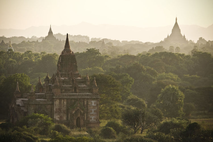 Historic Temples By Trees At Bagan Archaeological Zone