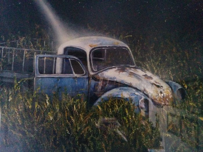 """A very dear friend of mine who Owens a VW mechanic shop asked me to paint a bug for him so I took some pictures of bugs in his shop and here is my version of bug resorection ,lights from havens ,oil on canvas 24""""_30"""". Abandoned Vwbug Resoraction Land Vehicle Back From Death Rusty Night Art, Drawing, Creativity Fine Art My Art Colllection Drawing Oil Painting My Best Friends ❤ Landscape_Collection Friendship. ♡   Love ♥ Koi."""