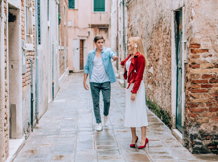 Full length of couple walking outdoors