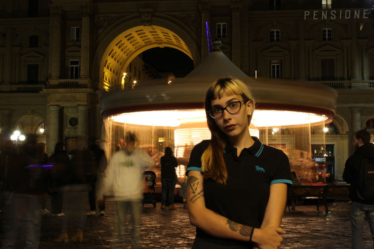 Carosello Carousel Casual Clothing Florence Italia Italy Lifestyles Long Exposure Modella Night Person Piazza Repubblica Ritratto Young Adult