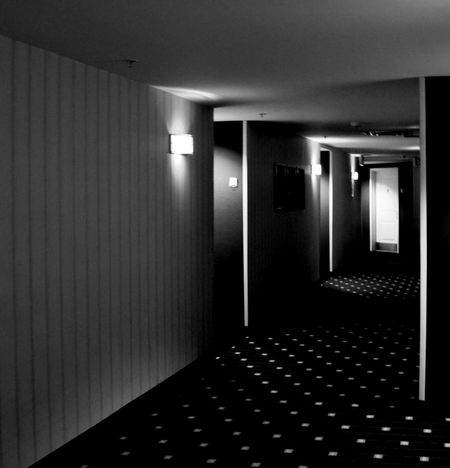 Black And White Dark Doorway Eery Hallway Hotel Illuminated Indoors