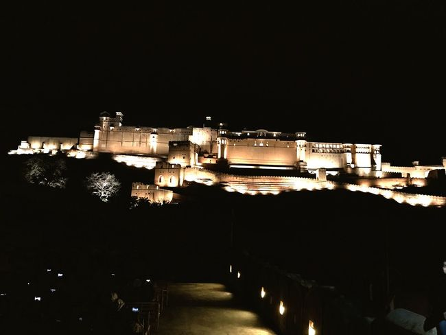 Amerfortjaipur Night Illuminated Architecture Built Structure Building Exterior Travel Destinations Clear Sky No People Sky Outdoors Water City