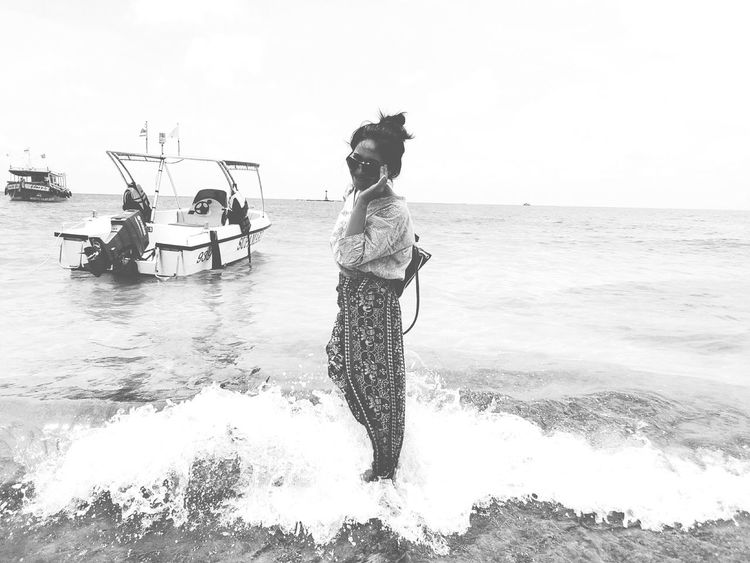 Adult People Outdoors Water Sea Beach Adults Only Young Adult Sky Young Women Day Women Nature Only Women Men Standing Beauty Beauty In Nature Black & White Blackandwhite Photography One Person Samed Thailand Samed Island