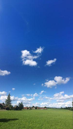 Village Sachsenkam Bavaria Bavarian Landscape Sunny Day Blue Sky Bayern