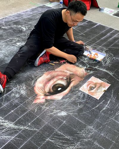 Artist EyeEm Best Shots Art Chalk Street Art One Person High Angle View Real People Men Day Full Length Lifestyles Street