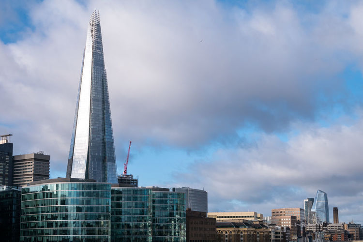 The Shard Architecture Built Structure Building Exterior City Sky Office Building Exterior Cloud - Sky Building Travel Destinations Skyscraper Tall - High Nature Tower Office Tourism Modern No People Outdoors Cityscape Financial District  Uk England London Sky And Clouds Reflection