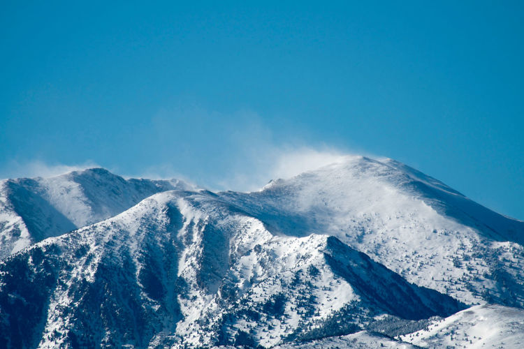 The top of the Canigou was blowing a gale at 100 kms per hour. Blue Sky Landscape Photography Mountain Range No Clouds Scenics Windy Mountain Top Wintertime Zoomed In