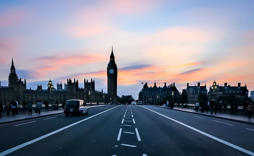 Big ben against sky during sunset in city