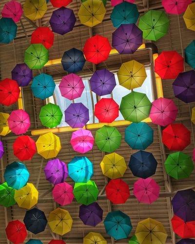 Umbrellas Multi Colored No People Full Frame Art And Craft Choice Variation Abundance Creativity Indoors  Pattern Still Life Backgrounds Ceiling Decoration Design Large Group Of Objects Celebration Shape Close-up