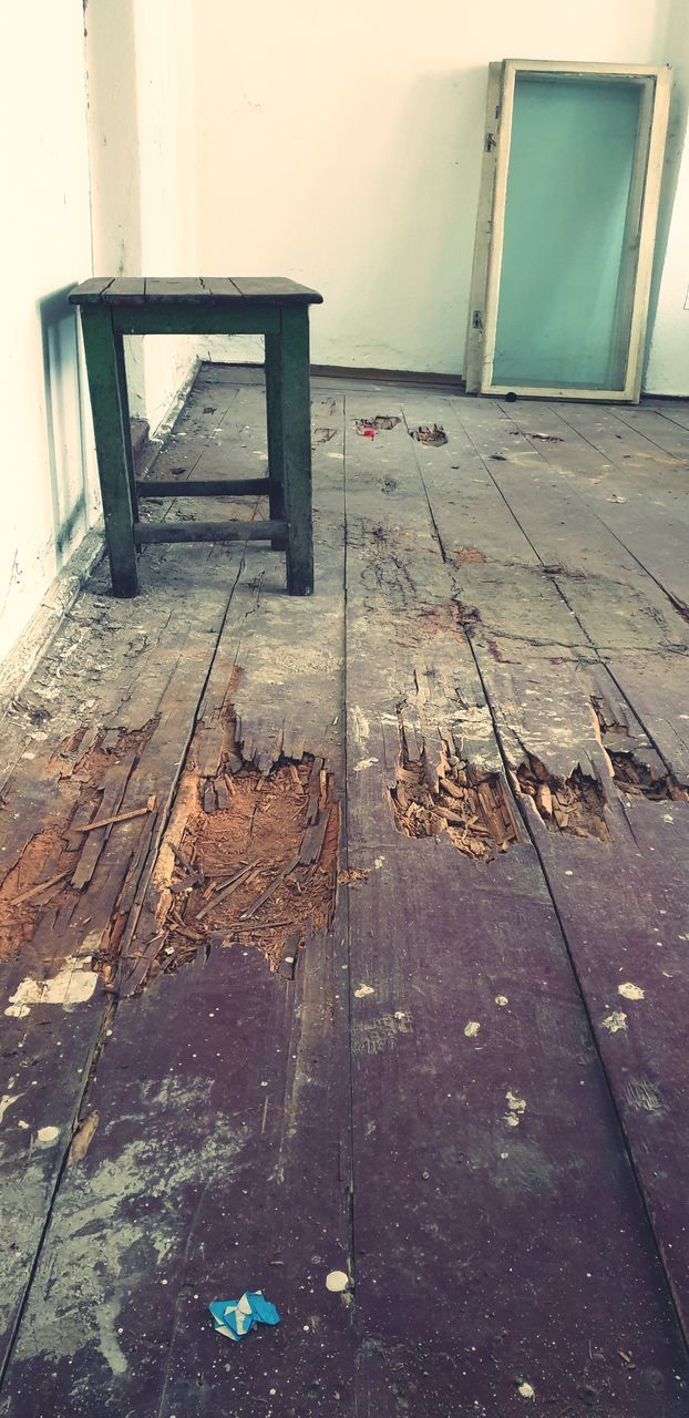 wood - material, architecture, indoors, no people, day, wood, flooring, entrance, built structure, building, door, abandoned, damaged, old, seat, run-down, house, domestic room, empty, messy