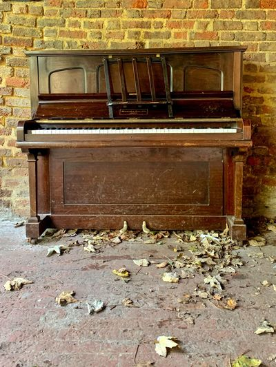 Abandoned bench against brick wall
