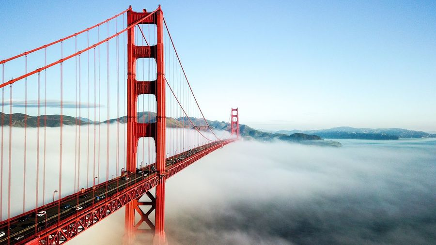 Golden Gate Bridge Fog Historical Building Destination Landmark Bay Area San Francisco SF Sky Suspension Bridge Water Nature Transportation Bridge - Man Made Structure Bridge Architecture Travel Destinations Built Structure Sea No People Tourism Connection Travel Copy Space City Bay Outdoors