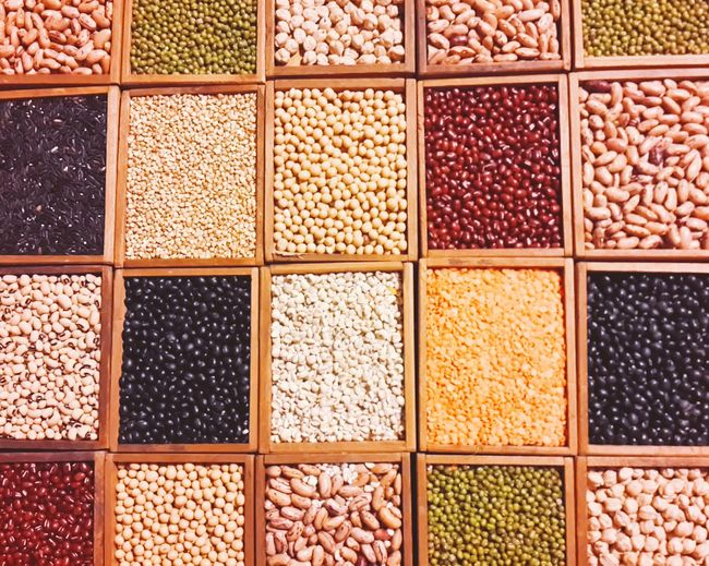 Variety of beans and lentils in box containers