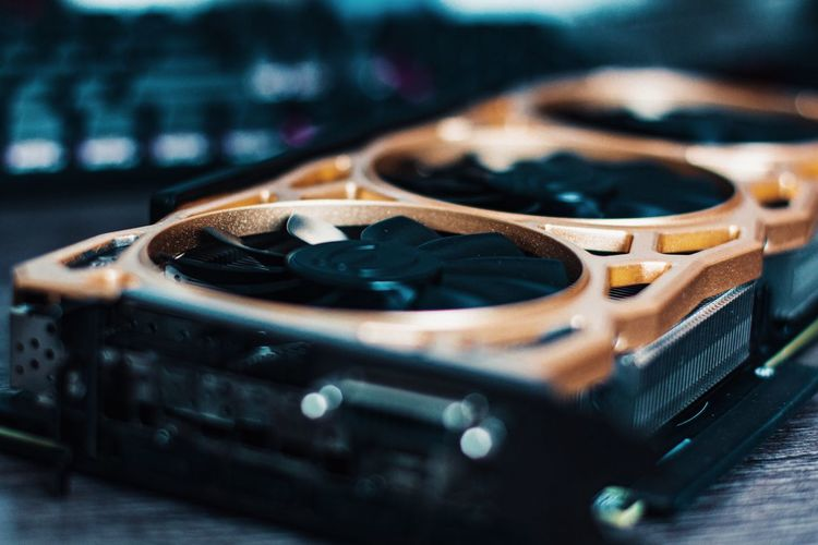 Close-up of graphics card on the table