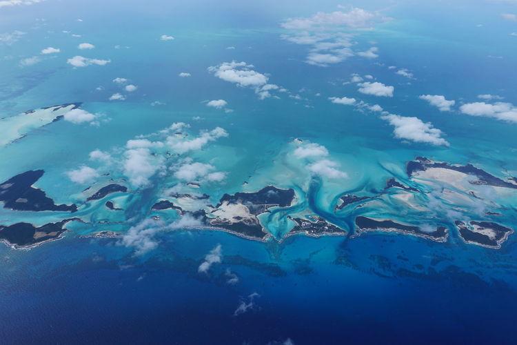 Aerial view of exuma in caribbean sea