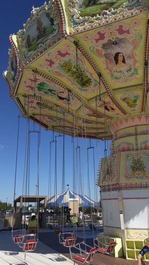 Amusement Ride Swings Colorful Hand Painted Summertime Family Time Fun Butterflies Canada Untouched Photo Memories