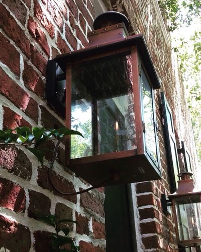 Gas Lanterns Window Architecture Low Angle View Brick Wall Built Structure Building Exterior Day No People Outdoors Tree Close-up Lantern