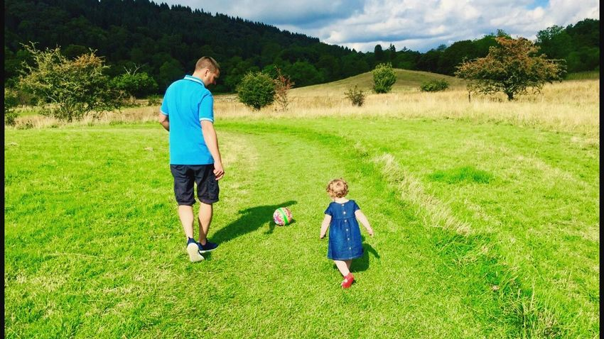 Meadow Dad Family Daughter Football Kick About Green Grass Blue Dress United Kingdom