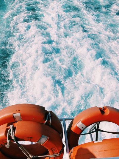 Scenic view of sea seen through boat