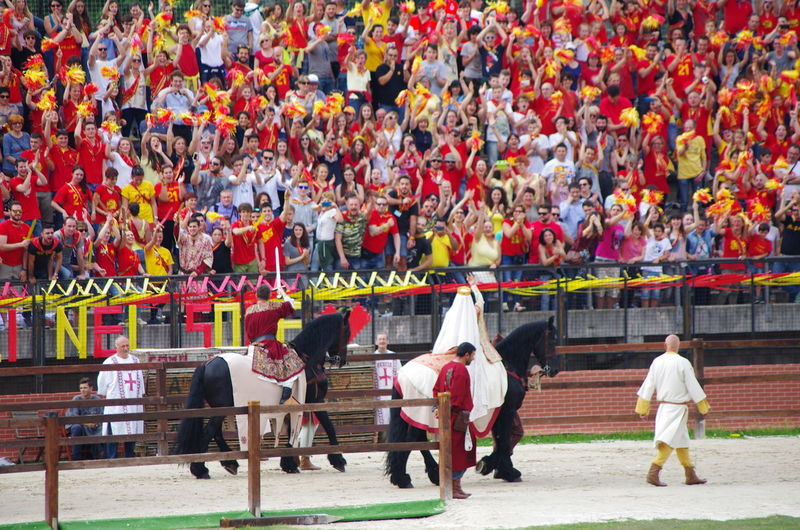 Crowd Cultures Historical Parade Outdoors Palio Palio Di Legnano