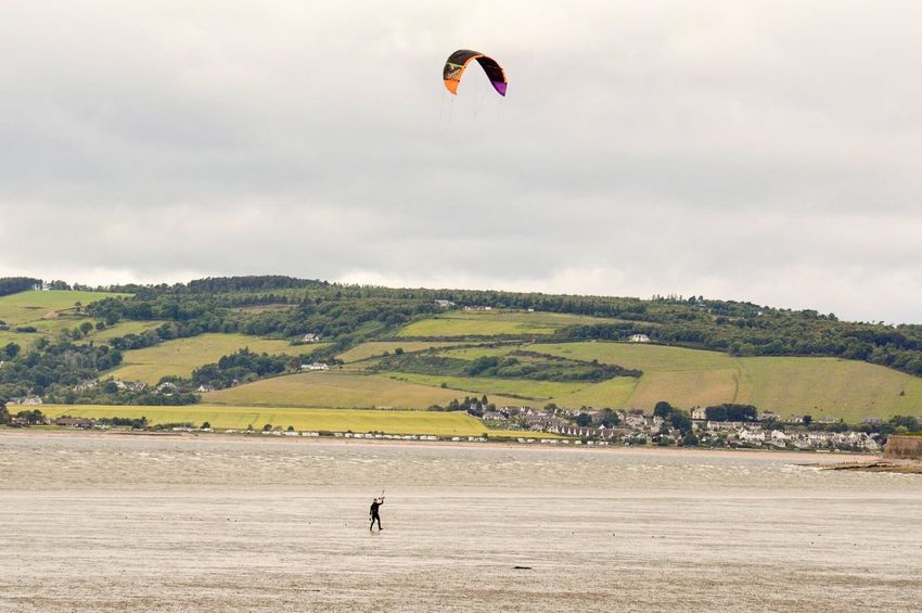 Leisure Activity One Person Adventure Real People Day Sky Landscape Extreme Sports Scenics Scottish Highlands Scotland Ardersier, Near Inverness Beach Water Sea