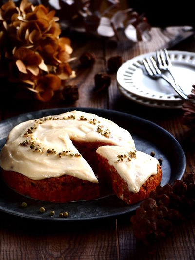 TOFU & carrot cake Baked Pastry Item Comfort Food Dessert Focus On Foreground Food Art Food Styling Foodgasm Gourmet Healthy Eating Homemade My Point Of View My World Of Food Sweet Food