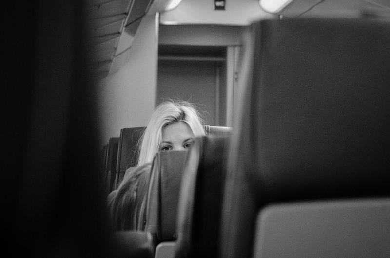 Peeking Train Girl Blackandwhite