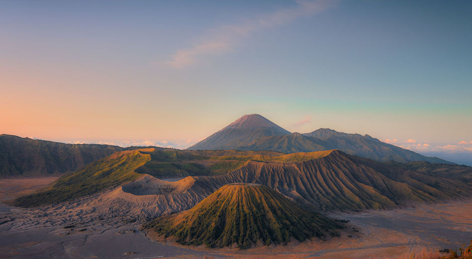 Scenic view of mount bromo against sky during sunrise.
