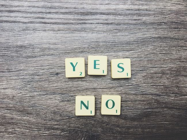 Yes No text Text No People Close-up Indoors  Day Font Motto Scrabble Motivation Letters Strategy Presentation Alphabet Wood - Material Communication Text Yes No