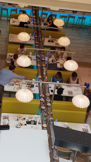 Sushi go round Sushi Go Round Lunch Time Lets Eat At The Mall Tampa Fl Day Trip Birthday Weekend Loving My Life Looking Down Overhead View