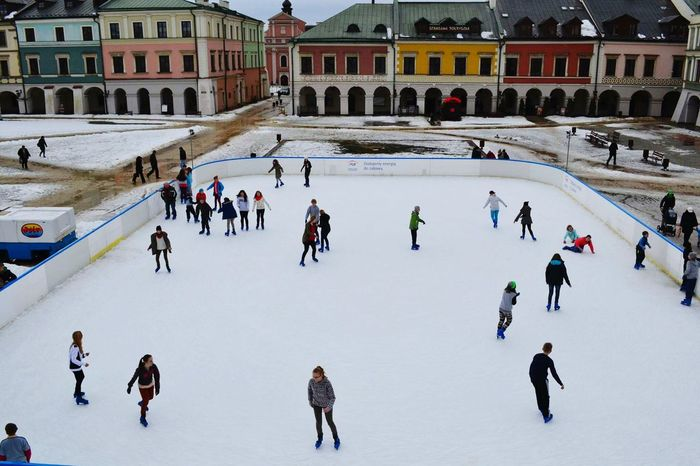 Showcase March Ice Rink Snow Eye4photography  City Poland Blue Sky Colorful Hause People Children Hello World ✌ Pictureoftheday Zamość Unesco