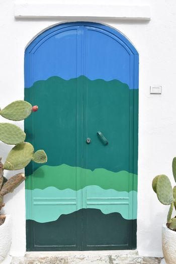 Architecture Blue Building Exterior Built Structure Close-up Closed Day Door Green Color No People Outdoors Painted Porta Del Paradiso
