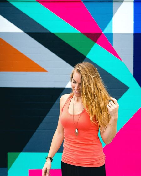 Art Is Everywhere 👈🏽 yes it is Blond Hair Young Adult Tank Top Lifestyles Multi Colored Leisure Activity One Person Young Women Beautiful Woman Smiling Day Real People Outdoors Sports Clothing Adult Adults Only People The Portraitist - 2017 EyeEm Awards