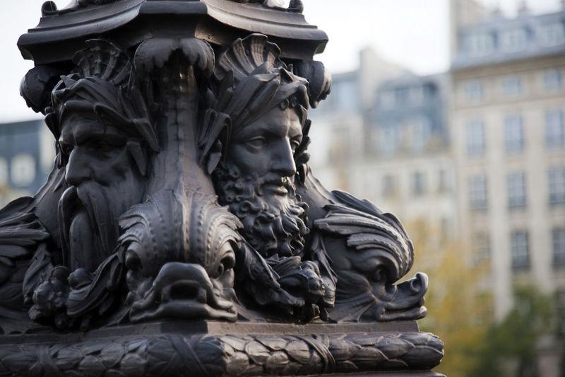 Art Bridge Bronze Capital City Faces France Old Ornate Paris Sculpture Streetlight