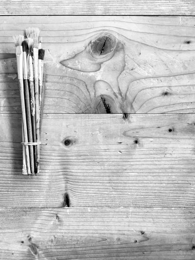 Paintbrush Brushes Pinsel Art Equipment Künstlerbedarf Wood - Material No People Still Life Table Textured  Work Tool High Angle View Tool
