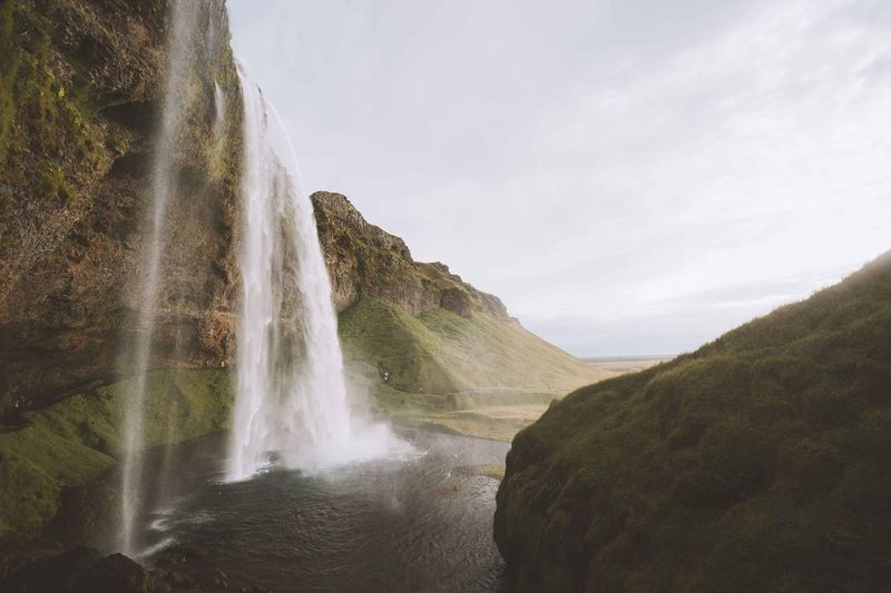 Beauty In Nature Day Flowing Freshness Iceland Idyllic Landscape Motion Nature Outdoors Rock - Object Running Water Scenics Sky Splashing Water Waterfall