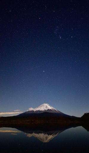 Red Fuji Mountain Star - Space Mountain Space Astronomy Night Sky Scenics - Nature Tranquility Lake Water Star Field