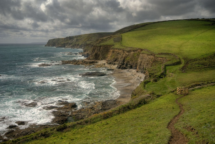 Coastal Walk Cliffs Beach Beauty In Nature Cloud - Sky Coast Cornwall Fields Grass Landscape Nature No People Scenics Sea Shore Sky Tranquil Scene Tranquility EyeEmNewHere