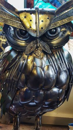 Work of art,metal aculpture Indoors  No People Close-up Day Work Of Art Metal Artwork Utinsels Forks Spoons Knives Texture Pattern Layers Bits And Pieces Silver  Silver - Metal Silverware  Owl Owl Art Owl