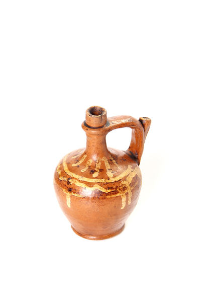 Clay jug Ancient Old-fashioned Retro Aged Amphora Antique Bottle Clay Clay Jug Close-up Craft Decoration Decorative Drink Earthenware Handle Jar Jug Old Pitcher Pottery Studio Shot Vintage White Background White Backround