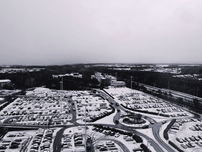 High angle view of cityscape against sky during winter